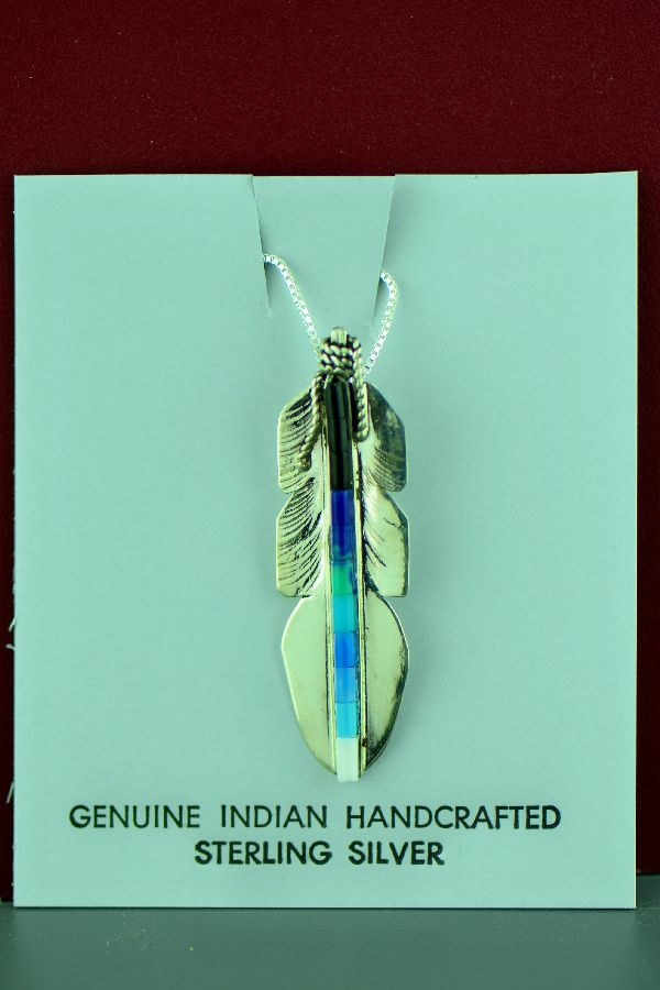 Navajo - Alvin James – Sterling Silver Dyed Heishi Feather Pendant
