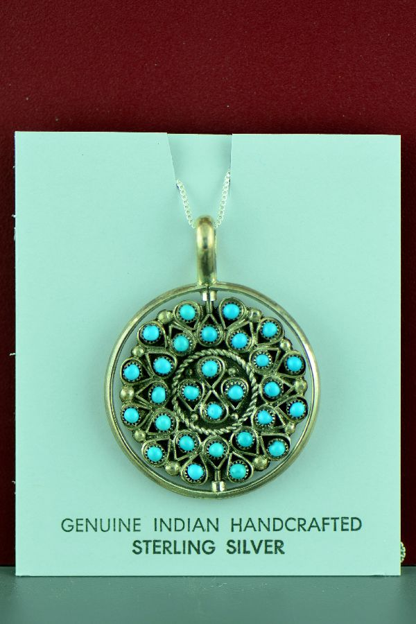 Zuni - Sterling Silver Turquoise and Coral Spinner Pendant by Waylon Johnson