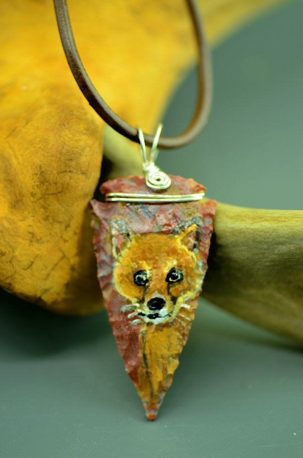 American Indian Arrowhead Pendant Red Fox