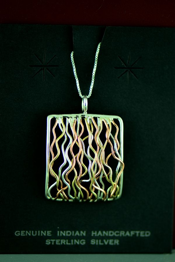Navajo – Sterling Silver, Copper and 12ktGF Branch Wire Pendant by Angela Martin
