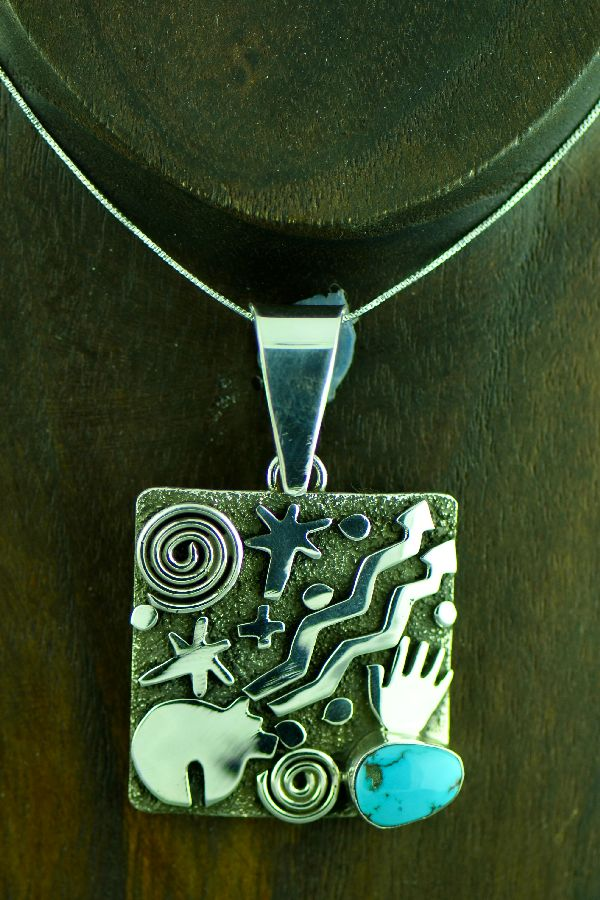 Zuni/Navajo Heavy Sterling Silver Candaleria Turquoise Petroglyph Pendant by Award Winning Artist Alex Sanchez