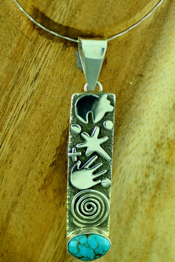Native American Heavy Sterling Silver Kingman Turquoise Petroglyph Pendant by Award Winning Artist Alex Sanchez