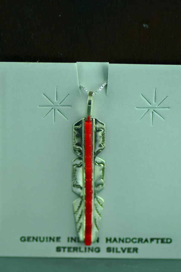 Navajo Sterling Silver Enhanced Coral Heishi Feather Pendant by Alvin and Linda James