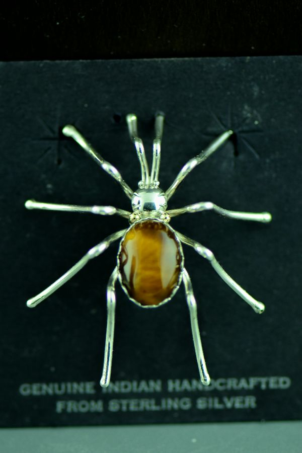 Navajo Sterling Silver Tiger Eye Spider Pin by E. Spencer