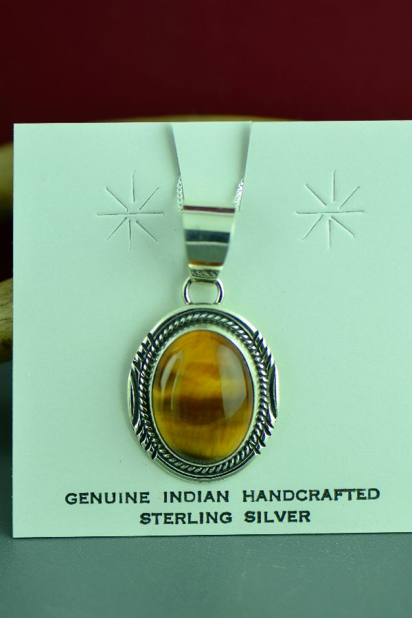 Navajo Sterling Silver Tiger Eye Pendant by Phillip Yazzie