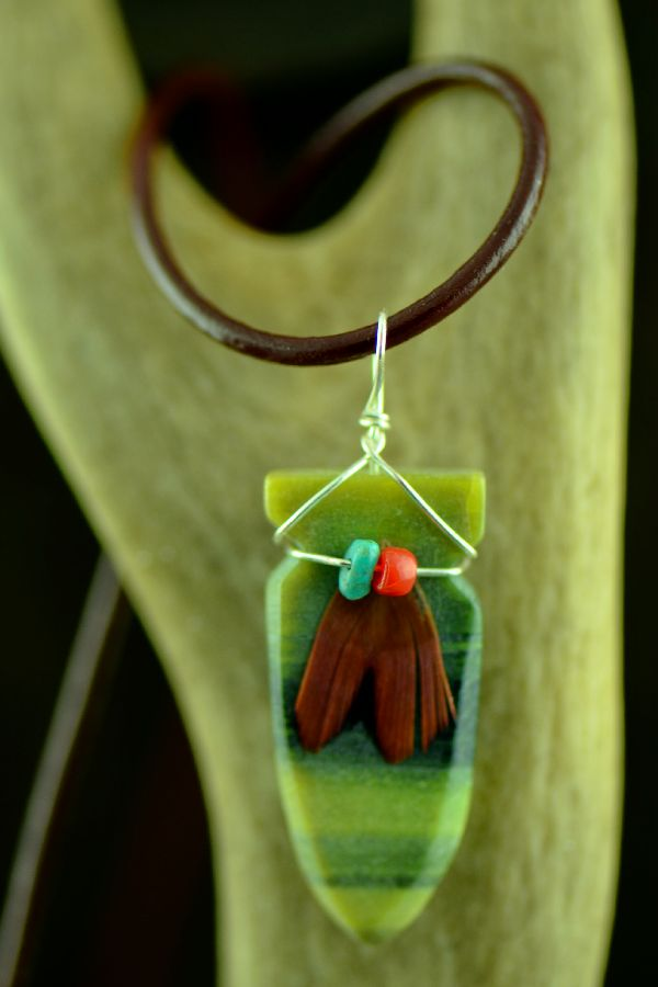 Navajo Hand Carved Ricolite Arrowhead Pendant by DuWayne Turpen
