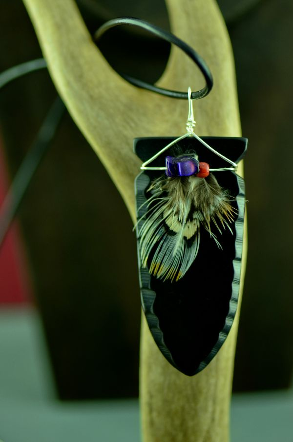 Native American Carved Jet Arrowhead Pendant by DuWayne Turpen