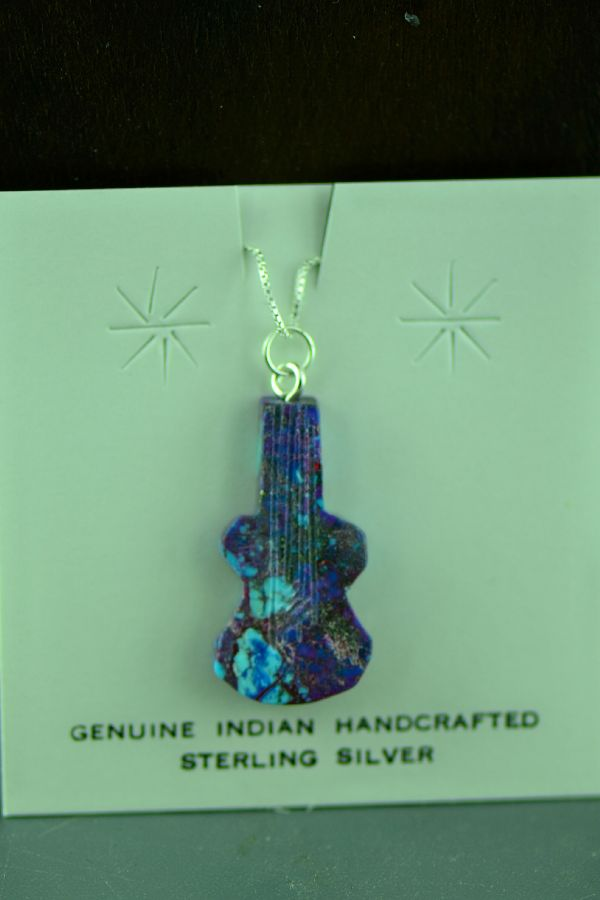 Navajo Hand Carved Mohave Purple Turquoise Guitar Pendant by DuWayne Turpen