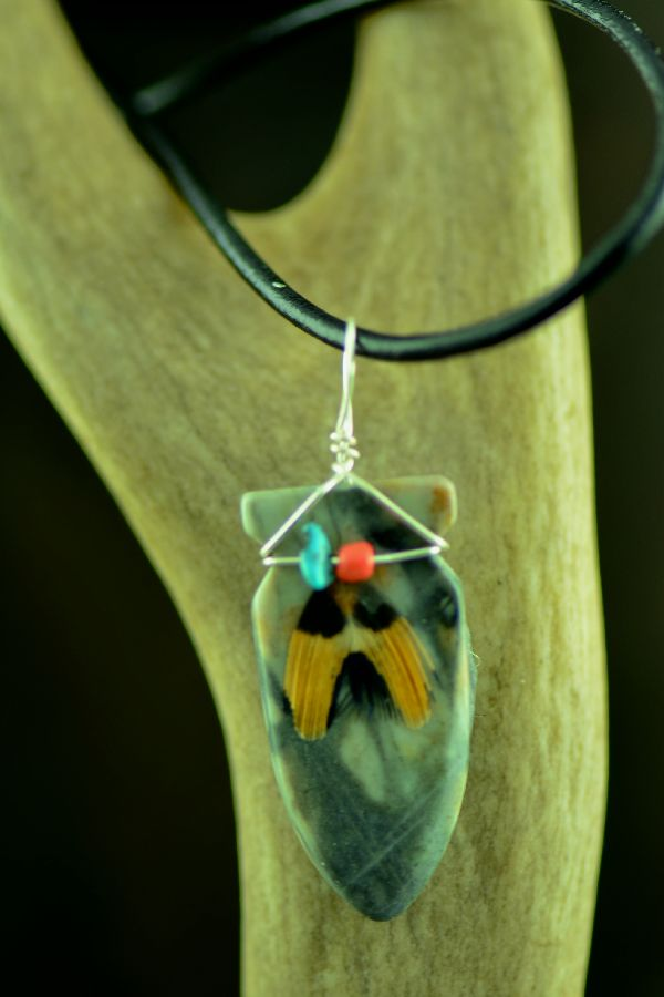 Navajo Hand Carved Picasso Marble Arrowhead Pendant by DuWayne Turpen