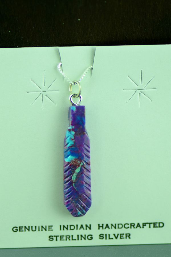 Navajo Hand Carved Mohave Purple Turquoise Feather Pendant by DuWayne Turpen