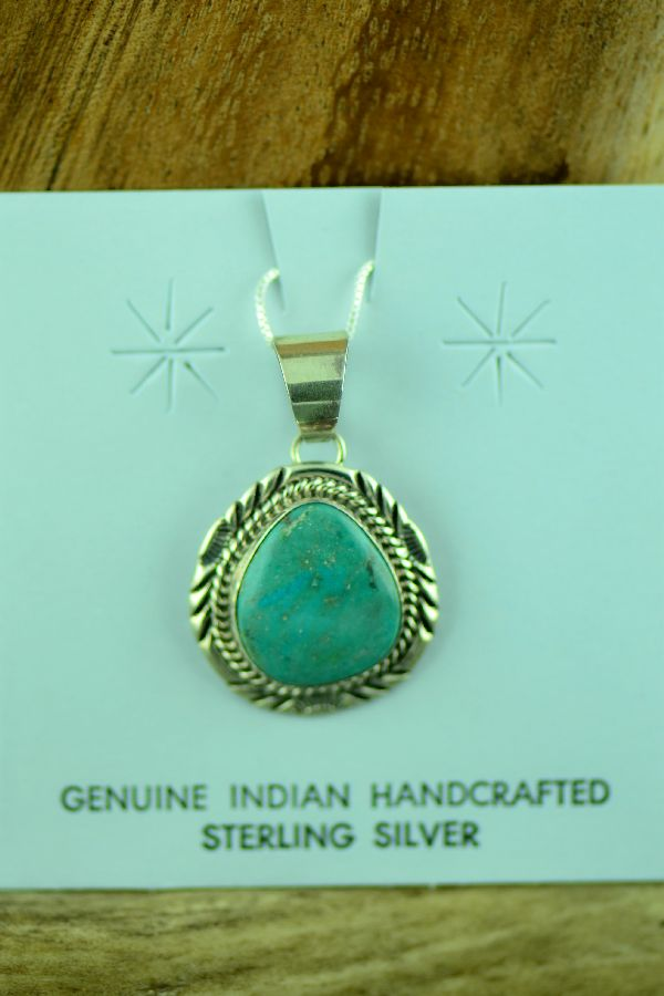 Will Denetdale Morenci Turquoise Pendant
