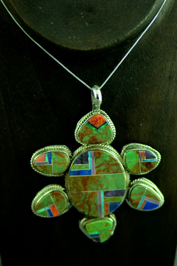 American Indian Inlaid Turquoise Turtle Pendant