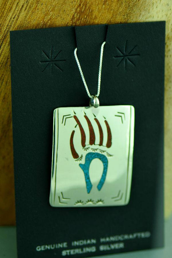 Navajo Sterling Silver Chip Inlay Turquoise and Coral Bear Paw Pendant by Kee Begay