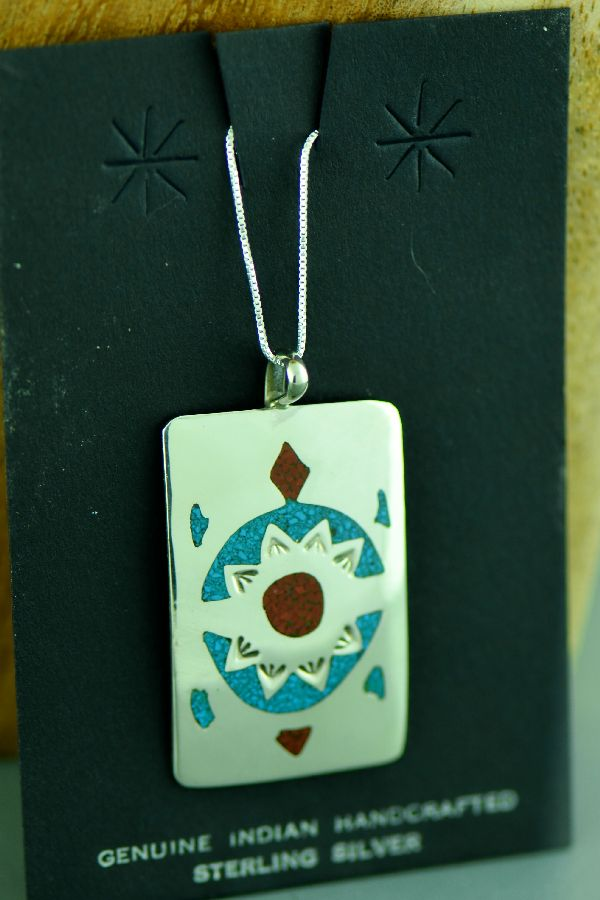 Navajo Sterling Silver Chip Inlay Turquoise and Coral Turtle Pendant by Kee Begay