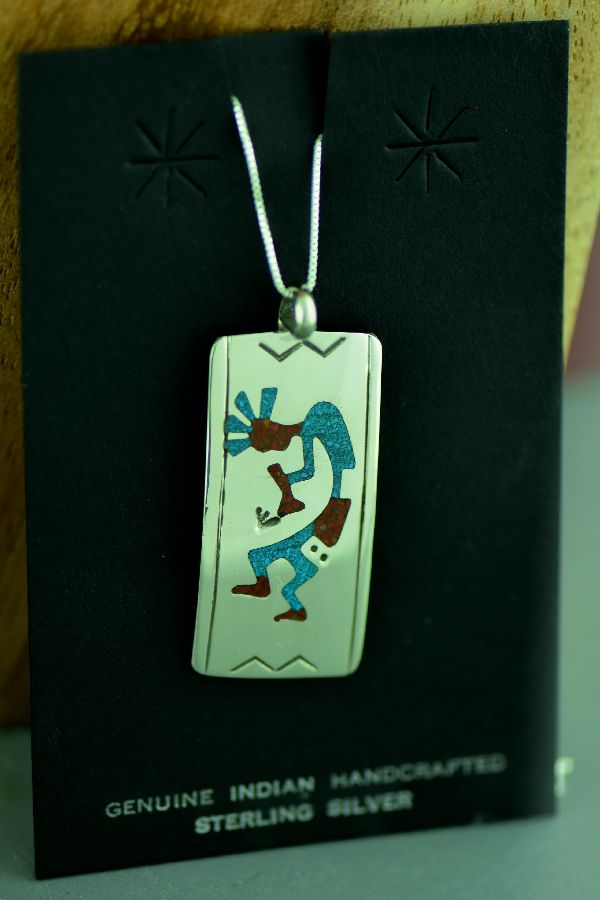 Navajo Sterling Silver Chip Inlay Turquoise and Coral Kokopelli Pendant by Kee Begay