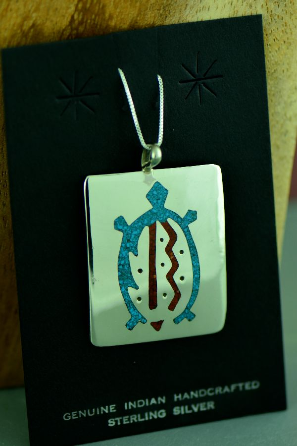 Kee Begay Navajo Sterling Silver Chip Inlay Turquoise and Coral Turtle Pendant