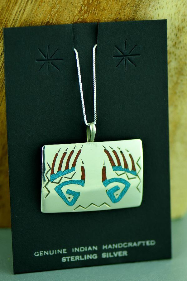 Kee Begay Navajo Sterling Silver Chip Inlay Turquoise and Coral Bear Paw Pendant