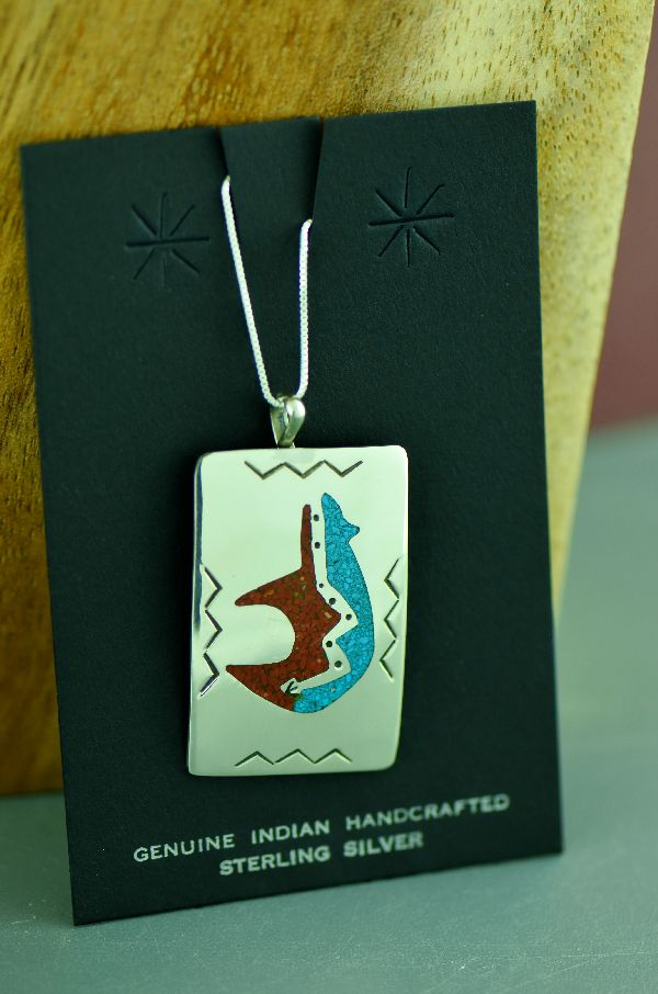 Navajo Sterling Silver Chip Inlay Turquoise and Coral Spirit Line Bear Pendant by Kee Begay