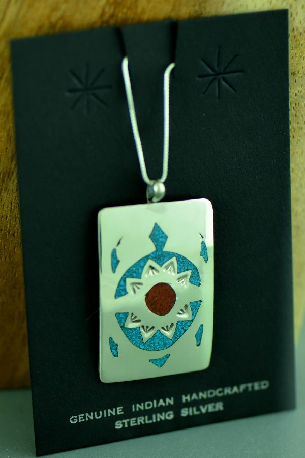 Kee Begay Sterling Silver Chip Inlay Turquoise and Coral Turtle Pendant Navajo