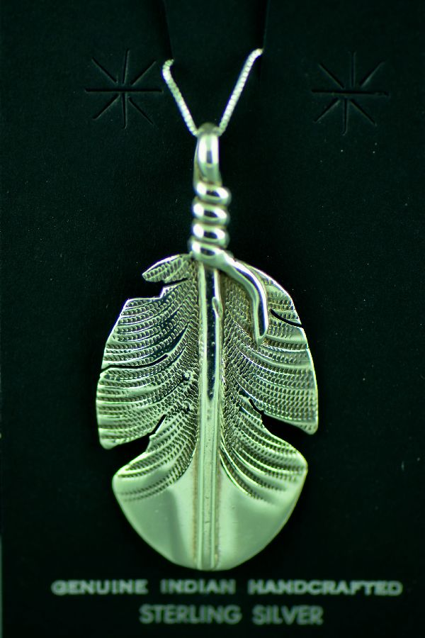 Navajo Sterling Silver Feather Pendant by Ben Charley