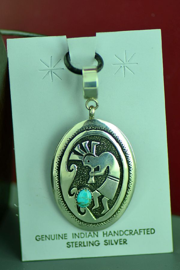 Navajo Sterling Silver Kokopelli Pendant with Kingman Turquoise by Tommy and Rosita Singer