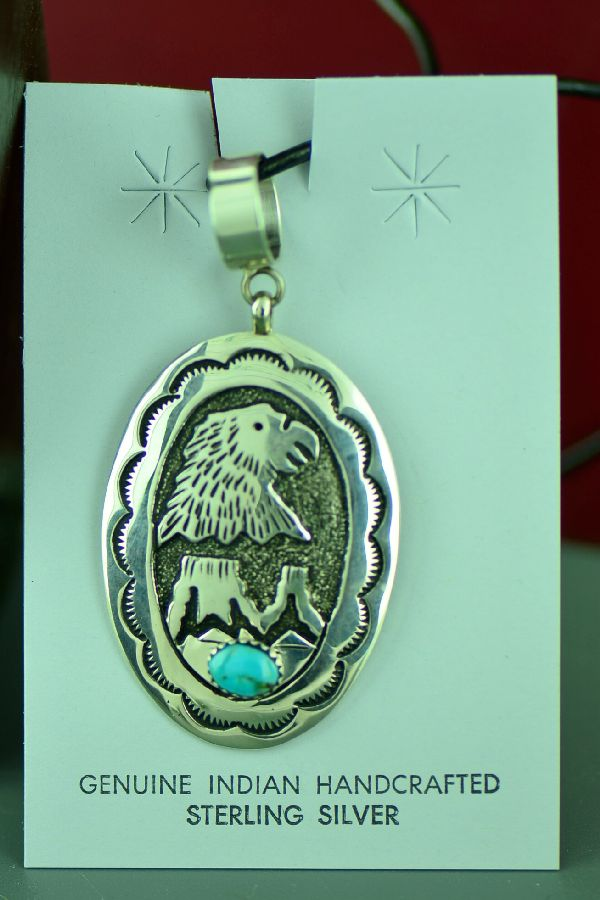 Navajo Sterling Silver Eagle and Mountain Pendant with Kingman Turquoise by Tommy and Rosita Singer