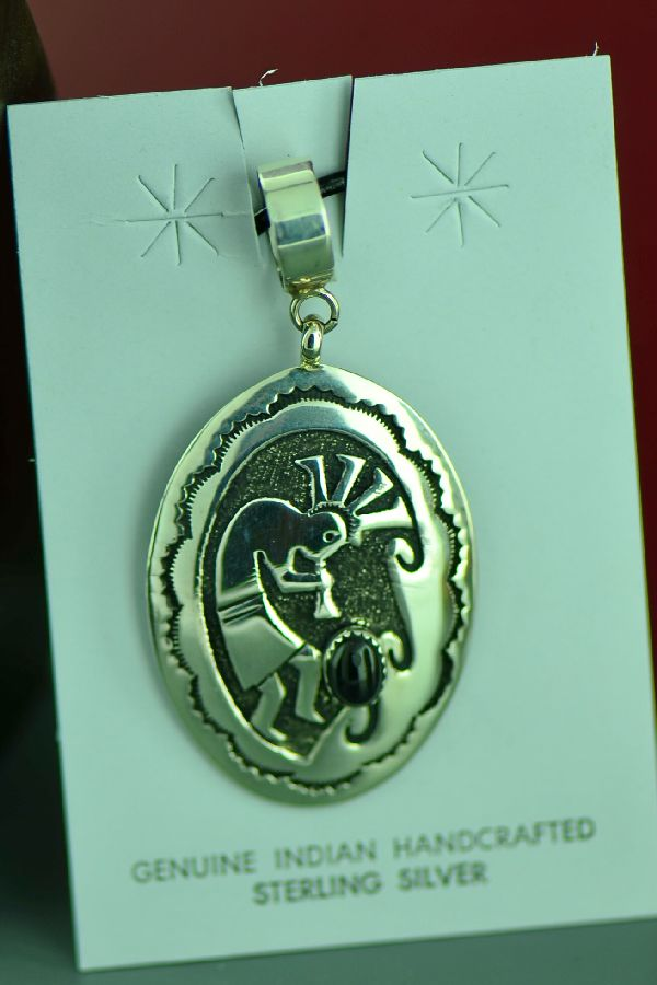Navajo Sterling Silver Kokopelli Pendant with Black Onyx by Tommy and Rosita Singer