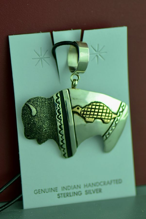 Navajo Sterling Silver and 12ktGF Buffalo with a Turtle Symbol Pendant by Tommy and Rosita Singer