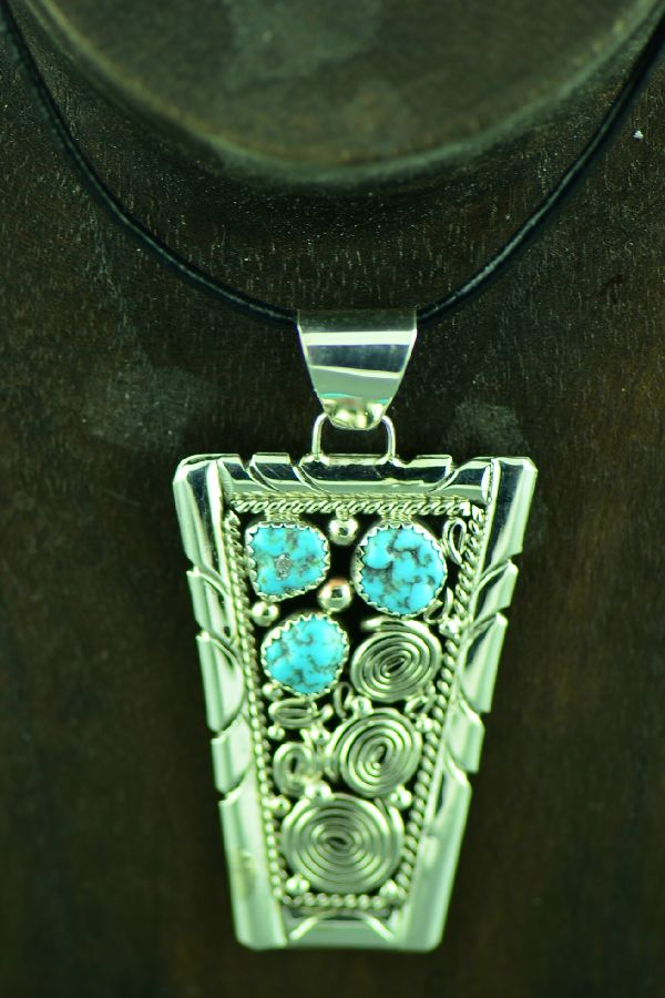 Native American Sterling Silver Sleeping Beauty Turquoise Pendant by Genevieve Jones