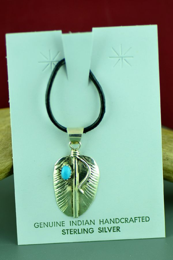 Vivian Jones Sterling Silver Sleeping Beauty Turquoise Feather Pendant