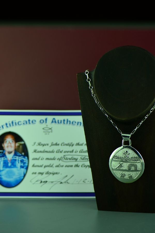 Navajo Exquisite Sterling Silver Story of Christ Pendant by Roger John