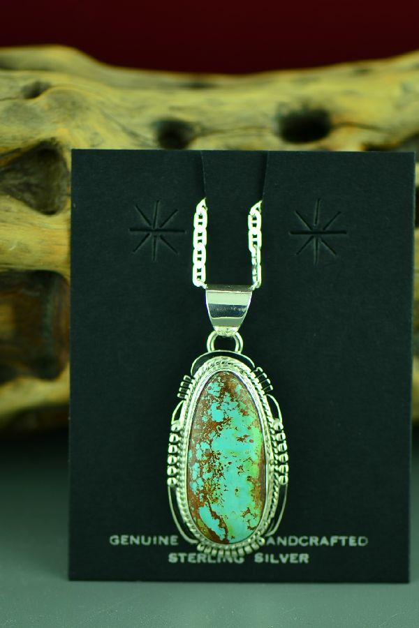 Navajo Sterling Silver Royston Turquoise Pendant by John Nelson