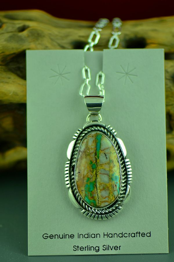 Navajo Sterling Silver Blue Ribbon (Boulder) Turquoise Pendant by Edison Gruber