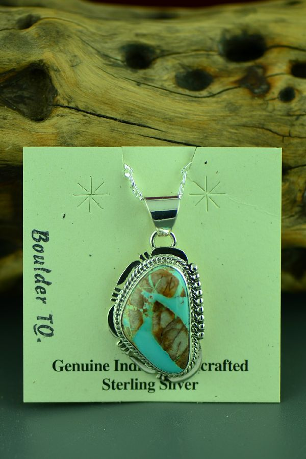 Navajo Sterling Silver Boulder Turquoise Pendant by John Nelson