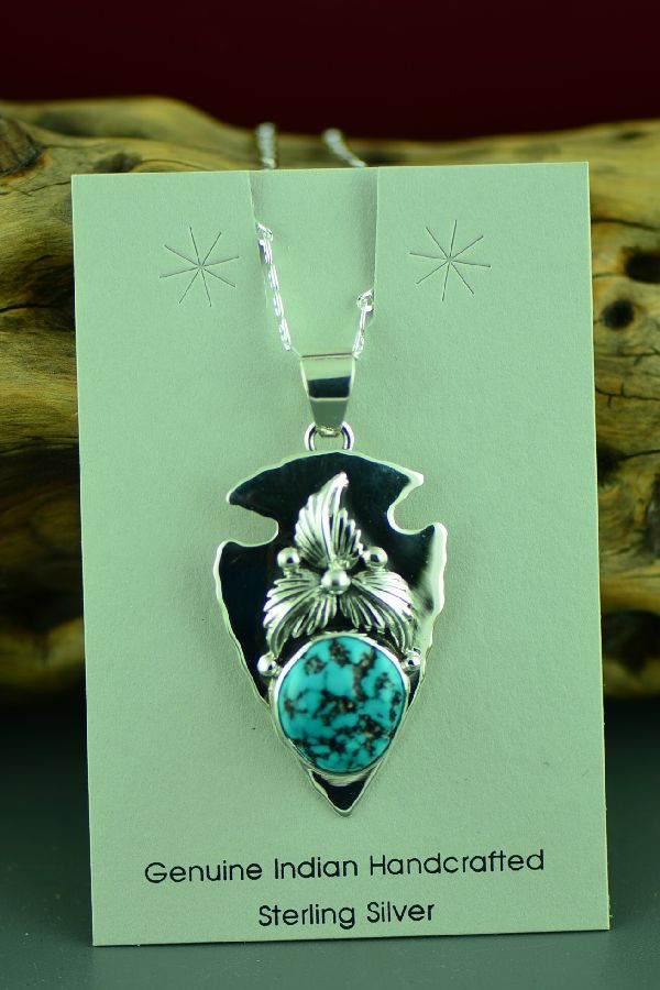 Navajo Sterling Silver Sleeping Beauty Turquoise Arrowhead Pendant by Lucy Valencia
