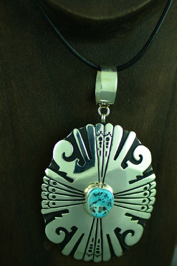 Navajo Sterling Silver Sleeping Beauty Turquoise Pendant by Tommy and Rosita Singer