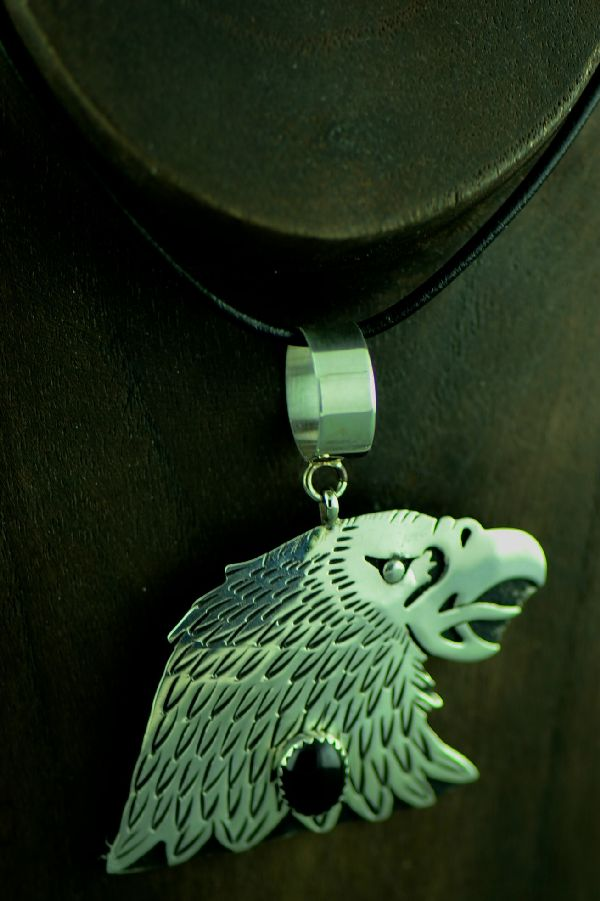 Navajo Sterling Silver Eagle Head Pendant with Black Onyx by Tommy and Rosita Singer