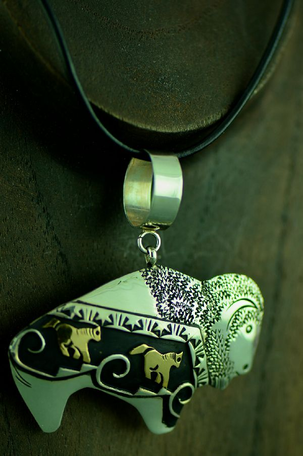 Navajo Sterling Silver and 12ktGF Buffalo with Horses Pendant by Rosita Singer
