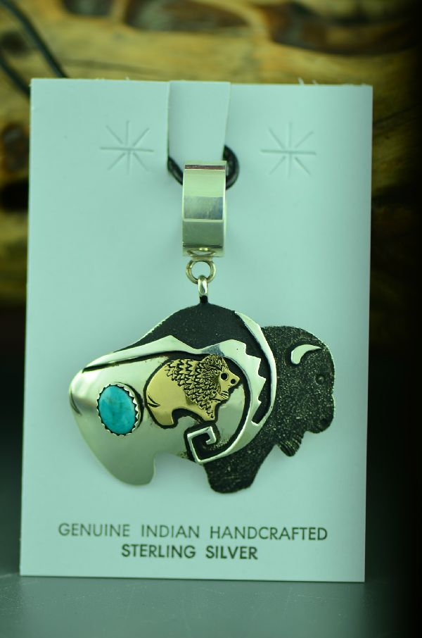 Navajo Sterling Silver and 12ktGF Buffalo Pendant with Kingman Turquoise by Rosita Singer