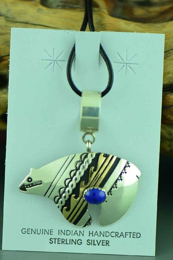 Navajo Sterling Silver and 12ktGF Spirit Line Bear with Water Symbol and Lapis Pendant by Rosita Singer