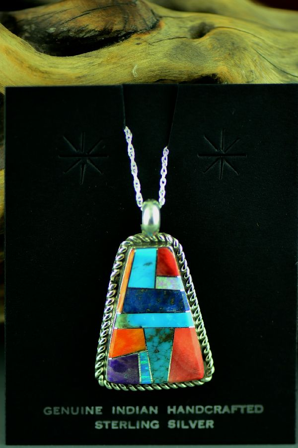 Navajo Sterling Silver Inlaid Turquoise, Lapis, Lab Opal, Sugilite and Spiny Oyster Shell Pendant by Lucy Cayatineto