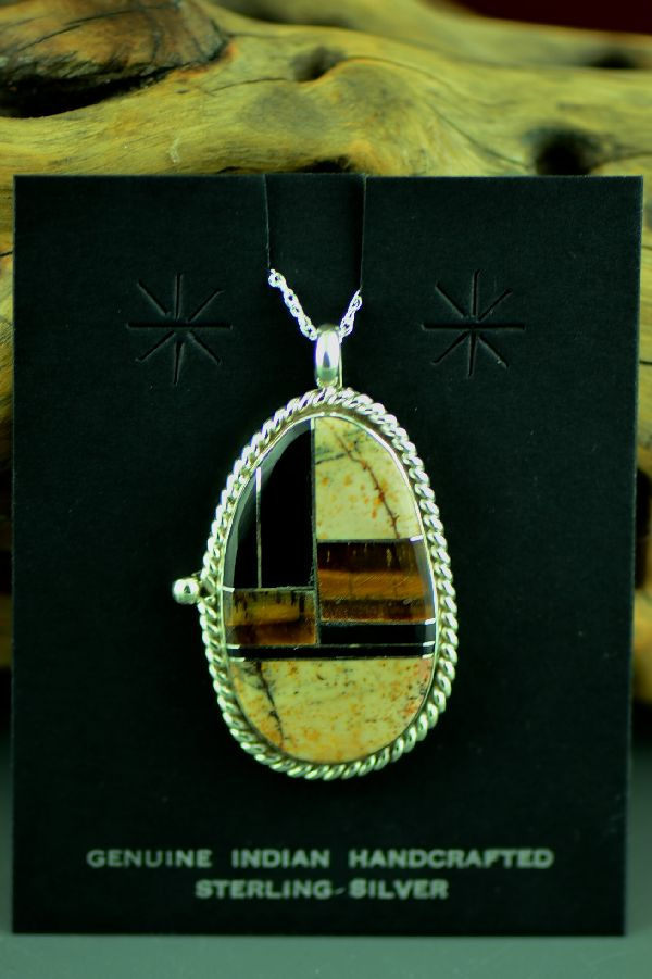Navajo Sterling Silver Inlaid Jasper, Tiger Eye and Jet Pendant by Lucy Cayatineto