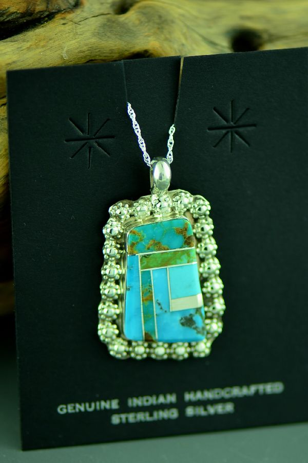 Navajo Sterling Silver Inlaid Turquoise Pendant by Lucy Cayatineto