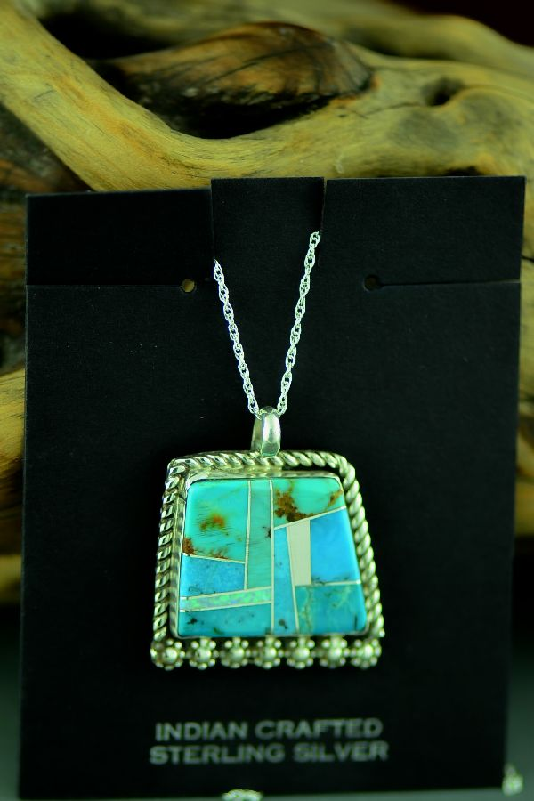 Navajo Sterling Silver Inlaid Turquoise and Lab Opal Pendant by Lucy Cayatineto