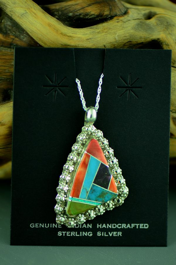 Navajo Sterling Silver Inlaid Turquoise, Lab Opal, Sugilite and Spiny Oyster Shell Pendant by Lucy Cayatineto