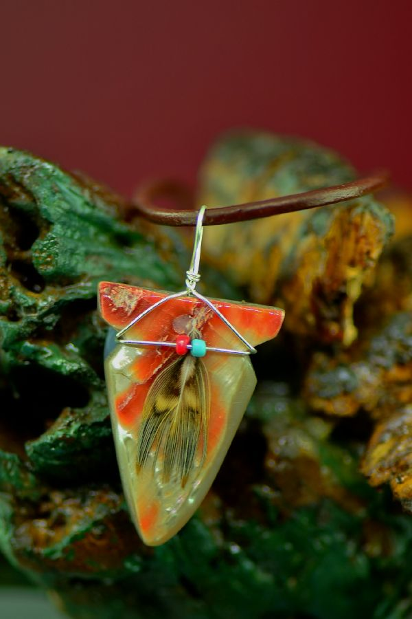 Navajo Hand Carved Abalone Arrowhead Pendant by DuWayne Turpen
