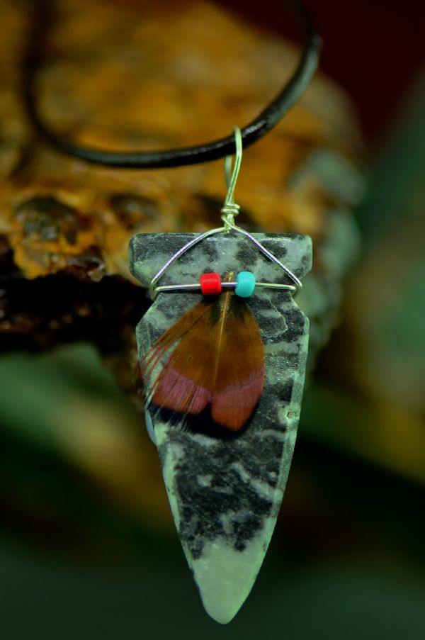 Navajo Hand Carved Zebra Marble Arrowhead Pendant by DuWayne Turpen