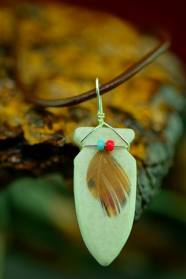 Navajo Hand Carved White Marble Arrowhead Pendant by DuWayne Turpen