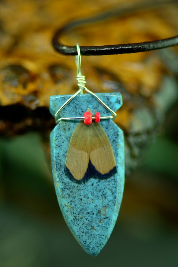 Navajo Kingman Turquoise Hand Carved Arrowhead Pendant by DuWayne Turpen