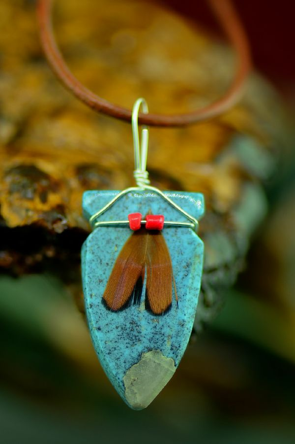 Navajo Carved Kingman Turquoise Arrowhead Pendant by DuWayne Turpen